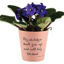 Her Children Shall Rise Up Rustic Clay 3 x 3.75 Terra Cotta Flower Pot - $14.82