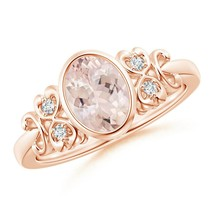 Vintage Style Bezel-Set 1.1ct Oval Morganite Ring with Diamonds Gold/Pla... - $775.28+