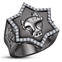 Astrology Taurus Zodiac Sign Men's Ring Diamond 10k Black Gold Plated 92... - $151.88