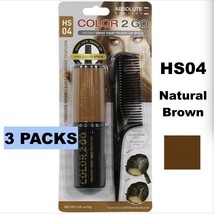 3 ABSOLUTE NEW YORK COLOR 2 GO INSTANT GRAY HAIR TOUCH UP STICK HS04 NAT... - $8.60