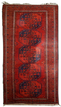 Hand made vintage Afghan Ersari rug 3.7' x 7.5' ( 114cm x 229cm ) 1950s ... - $1,320.00