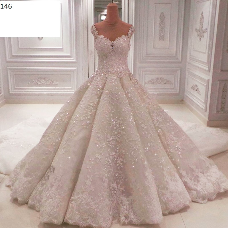Sequin Pleated Wedding Ball Gown- Wedding Dresses