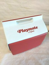 "Playmate by Igloo Red And White Cooler Push Button Lock 14"" x 14"" Vintage - $24.70"