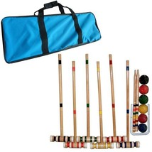 Croquet Set- Wooden Outdoor Deluxe Sports Set with Carrying Case- Fun Vi... - $46.53