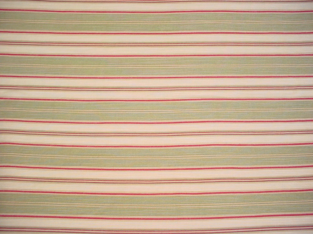 5-3/8Y RICHLOOM GREY / ROSE RED / BUTTER STRIPE PRINT DRAPERY PHOLSTERY FABRIC