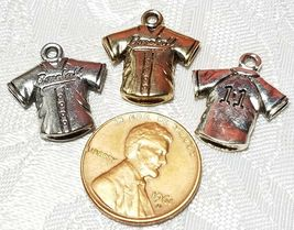 BASEBALL JERSEY FINE PEWTER PENDANT CHARM - 17mm L x 18mm W x 3mm D image 3