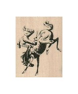 Mounted Rubber Stamp, Horse Bucking Cowboy, Cowboy, Western, Rodeo, Wild... - $9.95