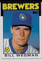 1986 Topps Traded Baseball Card, #123T, Bill Wegman, Milwaukee Brewers, ... - $0.99