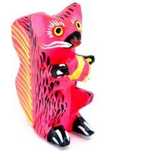 Handmade Alebrijes Oaxacan Wood Carved Painted Folk Art Squirrel w Nut Figurine image 4