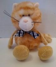 "Nici Cat Plush Toy Gold Tabby Stripe Kitty Dangling Legs 7"" Blue Scarf - $7.22"