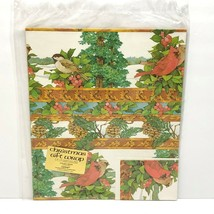 "Vintage Christmas Gift Wrap Wrapping Paper Holiday Birds 2 Sheets 24""x30... - $14.65"