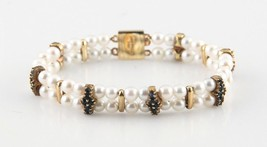 14K Gold Lucien Piccard Dual-Strand Akoya Pearl & Blue Crystal Bracelet (Size 7) - $1,038.51