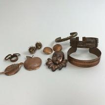 Copper Jewelry Lot MCM Mid Century Mod cuff bracelets earrings brooch pi... - $34.65