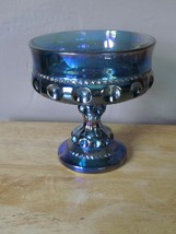 Vintage Indiana Carnival Glass Iridescent Blue Crown Shape Footed Candy ... - $9.90