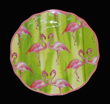 "8 Cynthia Rowley FLAMINGOS Stripes Scalloped 10-1/2"" Melamine Dinner Pla... - $54.99"