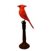 "Two's Company Cardinal Statue Figurine 9"" Wood Perch Bird Wildlife - $15.99"
