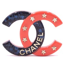 #30769 Chanel Blue Pink Rare Cc Inlay Glitter Resin Star Gold Brooch Pin - $500.00