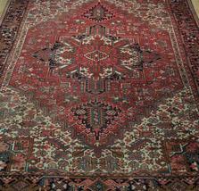 Normal Wear Semi-Antique Persian Handmade 9x12 Burgundy Heriz Wool Rug image 9