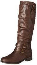 XOXO Women's Maleah Fashion Boot, Dark Brown, 7 M US