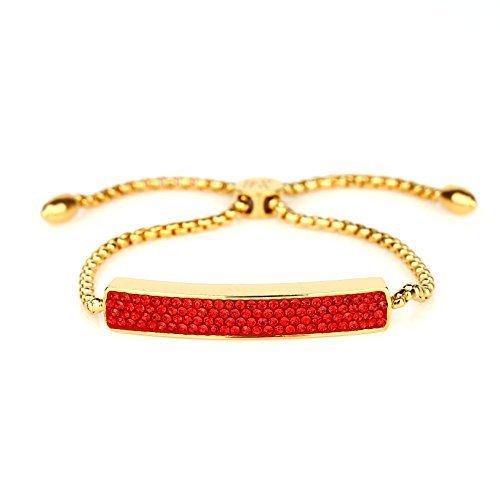 UNITED ELEGANCE Gold Tone Bolo Bar Bracelet, Ruby Red Swarovski Style Crystals