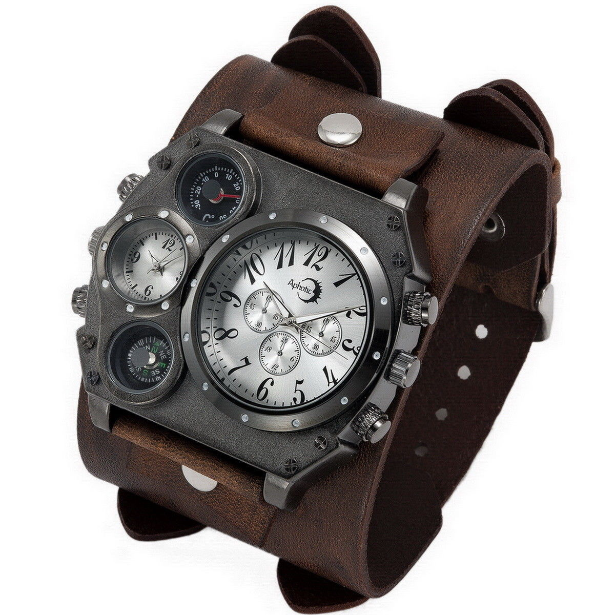 APHOTIC Black Dual Time Best Men Watch 2018 Dark Brown Wide Real Leather Strap
