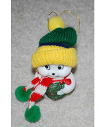 """White Snowman w/ Knit Scarf & Hat Vintage Christmas Bell Ornament 4""""  - $14.80"""