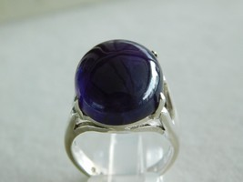 925 STERLING SILVER HAND MADE AMETHYST CABOCHON RING OF WT.-10.1 GMS. - $43.01
