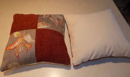 Pair of Burgundy Off White Patchwork Print Decorative Pillows  16 x 16 - $49.95