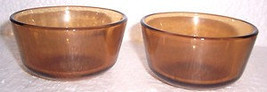 Anchor Hocking (2) Brown Color Glass Collectible Custard Bowls 6 oz USA - $12.00