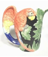 Fitz & Floyd Ceramic Majolica Tropical MACAW Parrot Pitcher Hand painted - $50.00