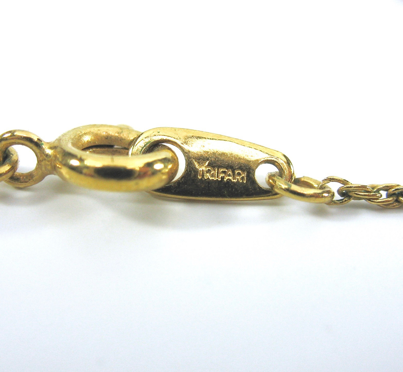 Crown Trifari Cameo Pendant Necklace, Victorian Revival, Signed, 1970s, Gold Ton
