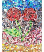 """MID CENTURY MODERN MOSAIC ART Rose  Stands only Primitive Hand made 14"""" x 11"""" - $123.49"""
