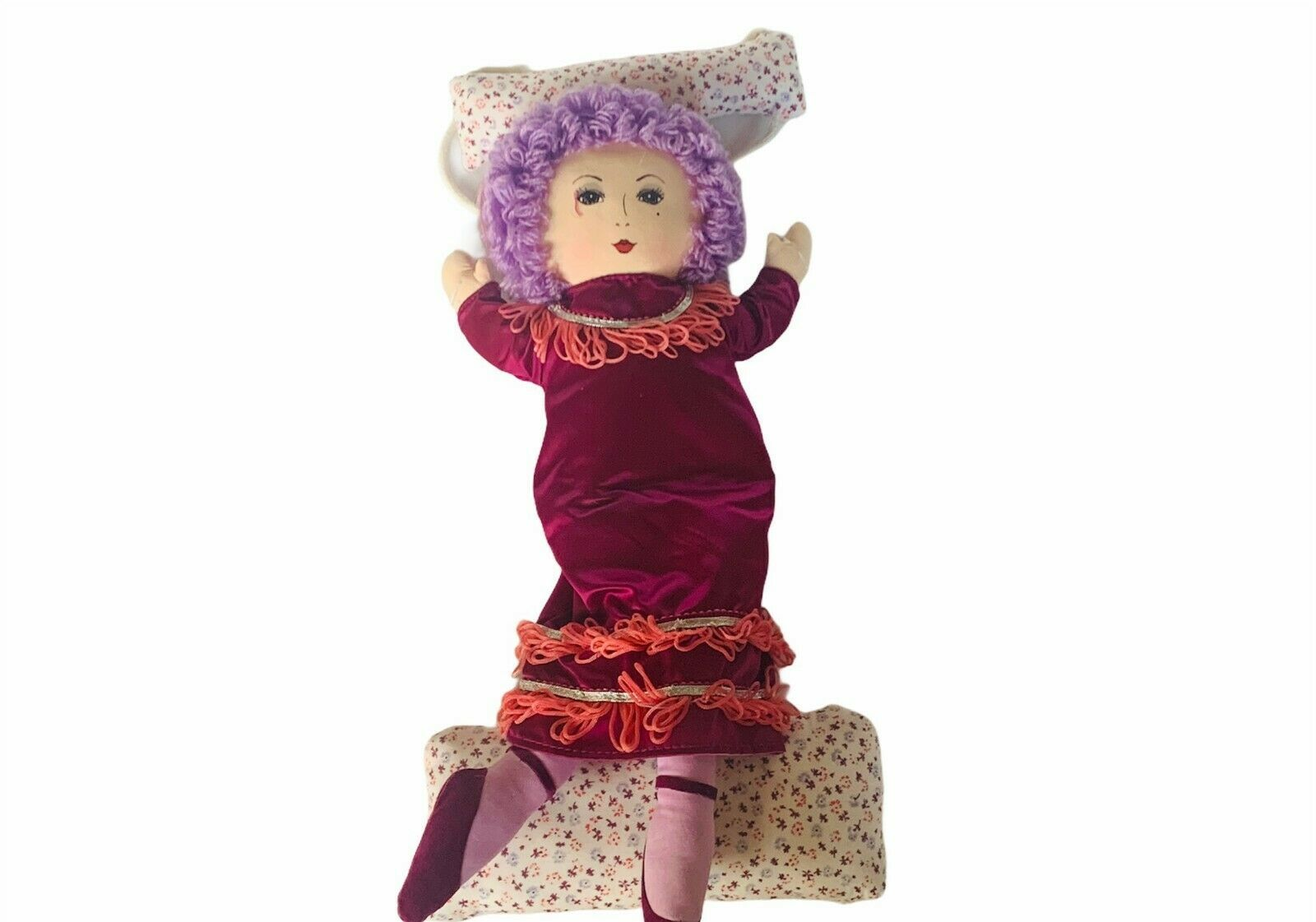 "Primary image for Russ Berrie Doll Swing plush stuffed animal 16"" vtg purple violet hair dress toy"