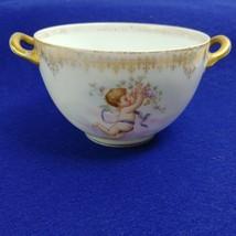 D & C Limoges France Sugar or Bouillon Bowl Double Handle with Cherub De... - $29.90