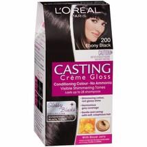 L'oreal Casting Crème Gloss 200 Ebony Black Permanent Hair Dye No Ammoni... - $19.50