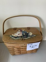 1993 Longaberger Basket small purse with handpainted top - $20.00