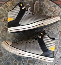 Cons Converse Men Sz 10 Women Sz 12 High Top Shoes Black Gray Yellow Tennis Shoe image 3