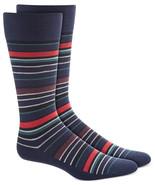 Mens Dress Socks Variegated Stripe Navy Blue Alfani Alfatech 1 Pair $10 ... - $3.95