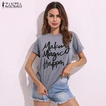 ZANZEA 2018 Summer Women Blusas Casual Loose Letters O Neck Cotton Short Sleeve  - $42.40
