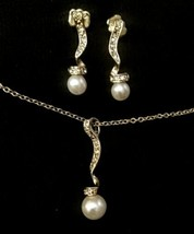 Avon Pearl And Rhinestone Necklace And Earrings Set - $7.92
