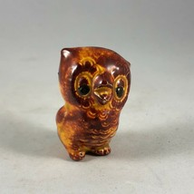 "Vintage Retro Kitsch Brown Small Mini Porcelain Owl Figurine 1.25"" - $9.50"