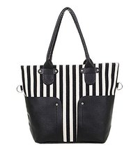 All-match Stripe Canvas Bag Handbag Shoulder Bag Messenger Bag BLACK