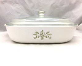 Corning Corningware P-10-B - Green Wheat Avocado Rare Pattern Casserole Dish Lid - $89.09