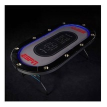 Folding Poker Table LED Lights Cup Holder Portable 10 Player Game Room A... - $242.54
