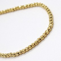 18K YELLOW GOLD BRACELET, 20 CM, FINELY WORKED SPHERES, 2 MM DIAMOND CUT BALLS image 2