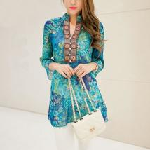 plus size chiffon women blouses bohemian indian tops summer blusas 5XL embroider