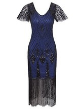 Vijiv Women 1920s Gatsby Long Flapper Dresses with Sleeves Sequins Deco ... - $46.58