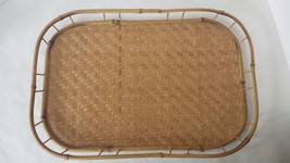 Rattan Wicker Woven Serving Tray Lap Breakfast TV Picnic Bamboo Tiki 19 ... - $17.81