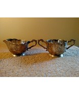 Occupied Japan Sugar Bowl & Creamer Silver Plated Set Mid Century - $12.86