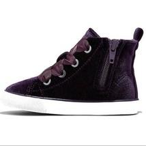 Cat & Jack Toddler Girls Jory Purple Velvet High Top Shoes Sneakers NEW image 2